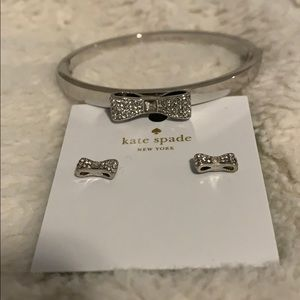 Beautiful Kate Spade Pave Bow Bracelet & Earrings